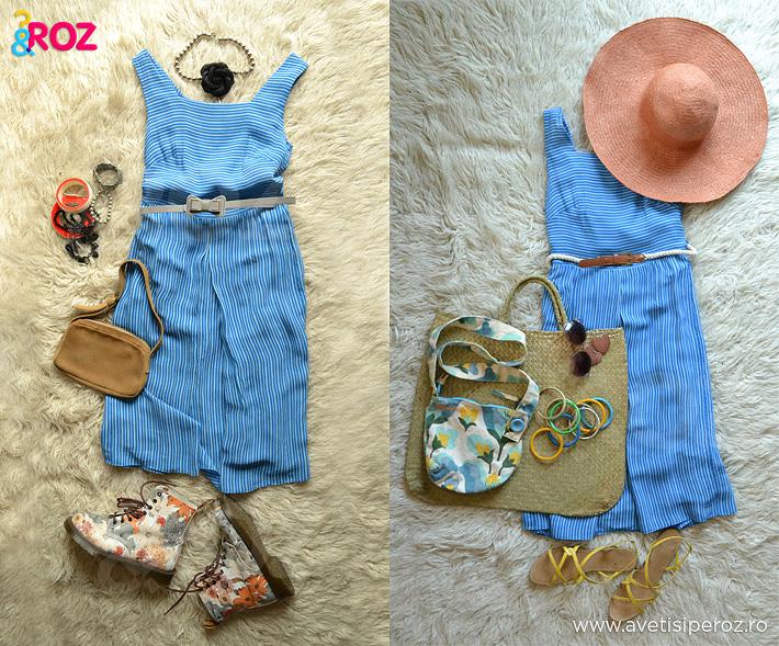 rochie albastra cu dungi si accesorii
