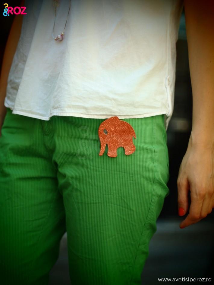detaliu camasa alba cu pantaloni verzi si brosa