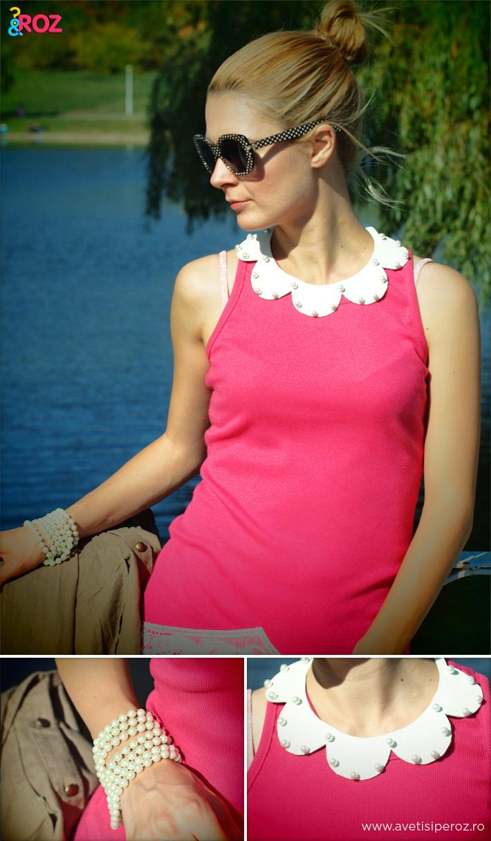 fata-cu-rochie-roz si guler de piele