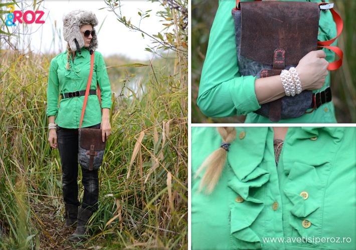 camasa verde si caciula de blana
