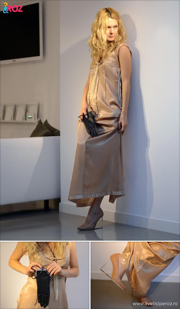 rochie nude margiela si geanta manusa