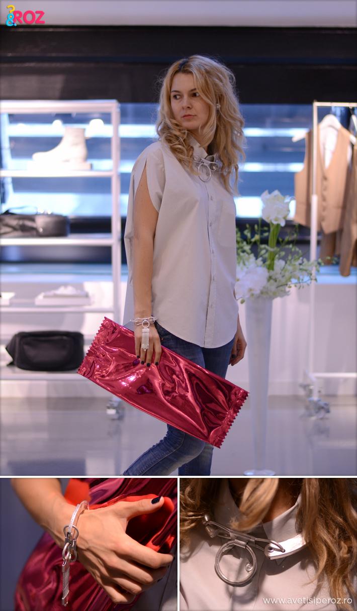 tinuta margiela cu geanta roz si camasa alba