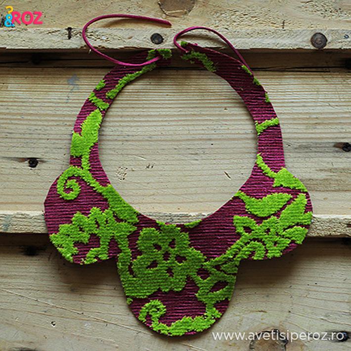 guler handmade roz cu verde