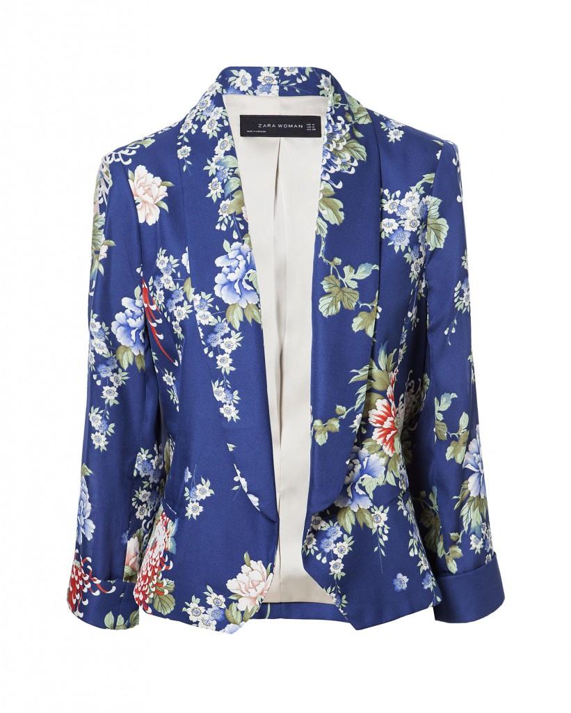 blazer albastru cu flori zara