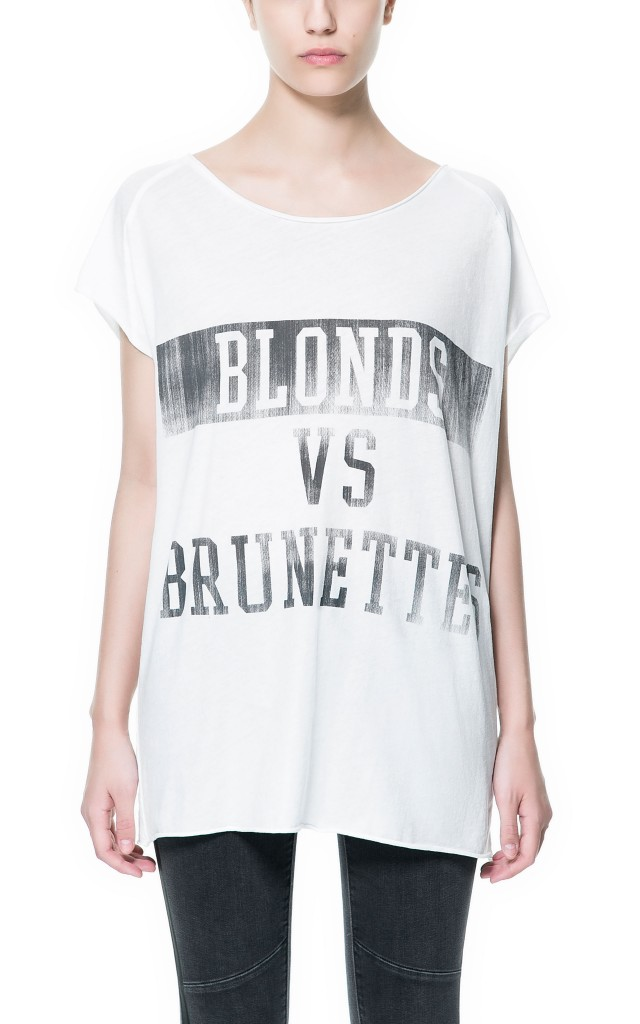 blonde vs brunette t-shirt zara