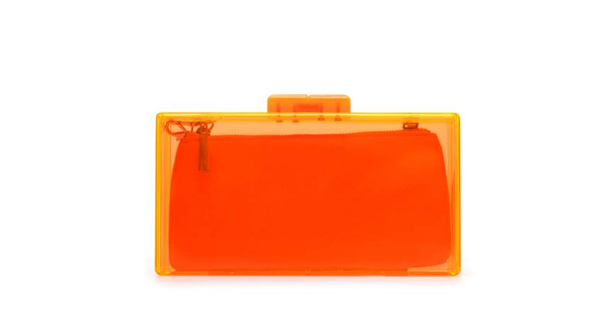 clutch portocaliu transparent zara