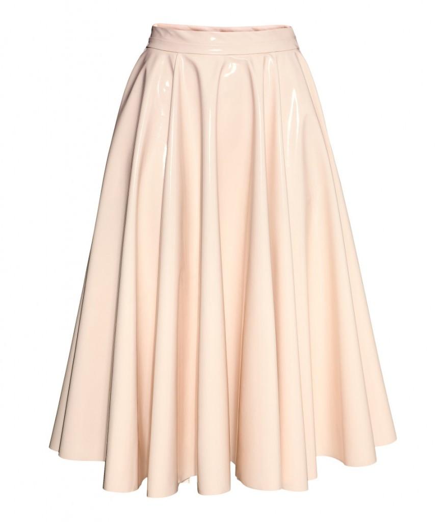 fusta roz imitatie piele hm