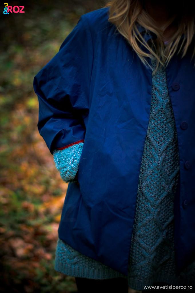 geaca albastra cos si pulovar