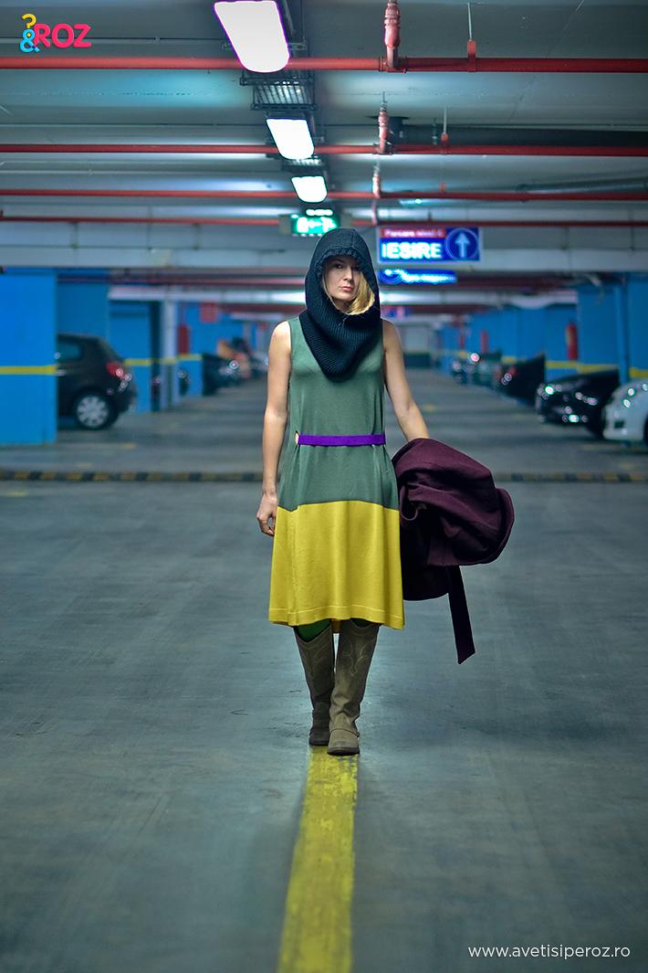 rochie jerse cos galben cu verde