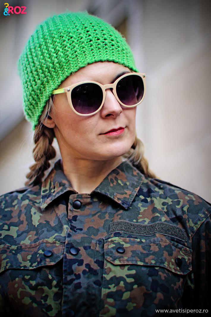 camasa camuflaj si fes verde