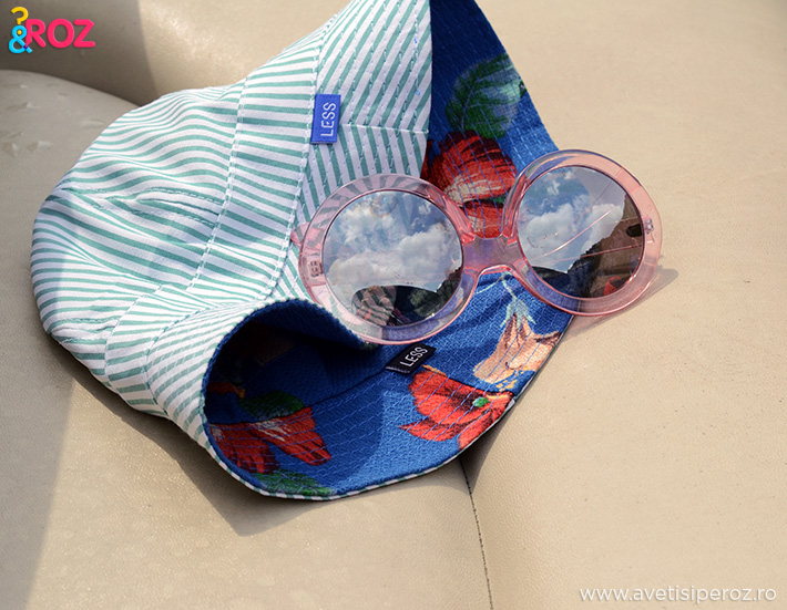 palarie soare less si ochelari rotunzi roz