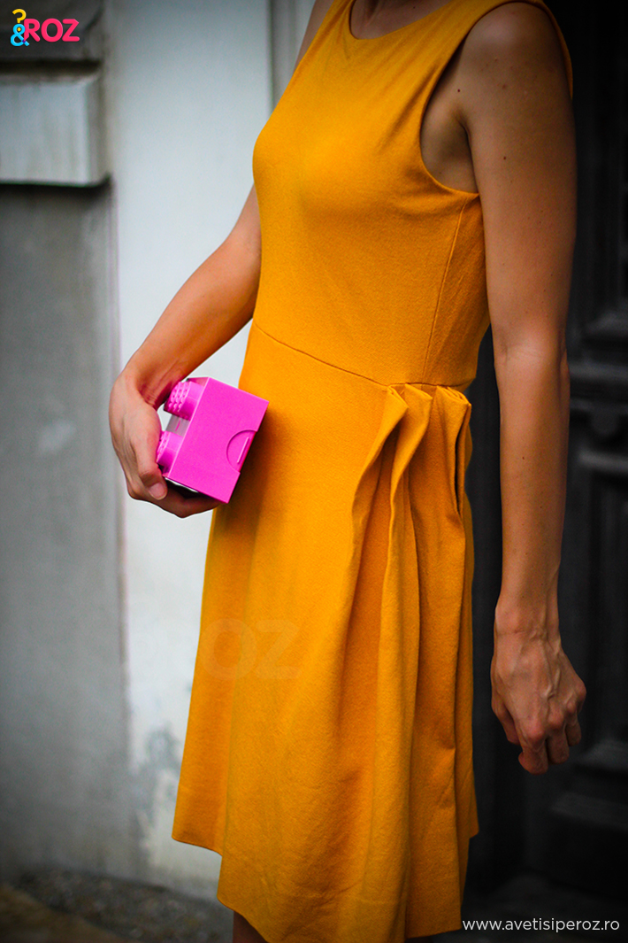 cos dress and pink lego clutch