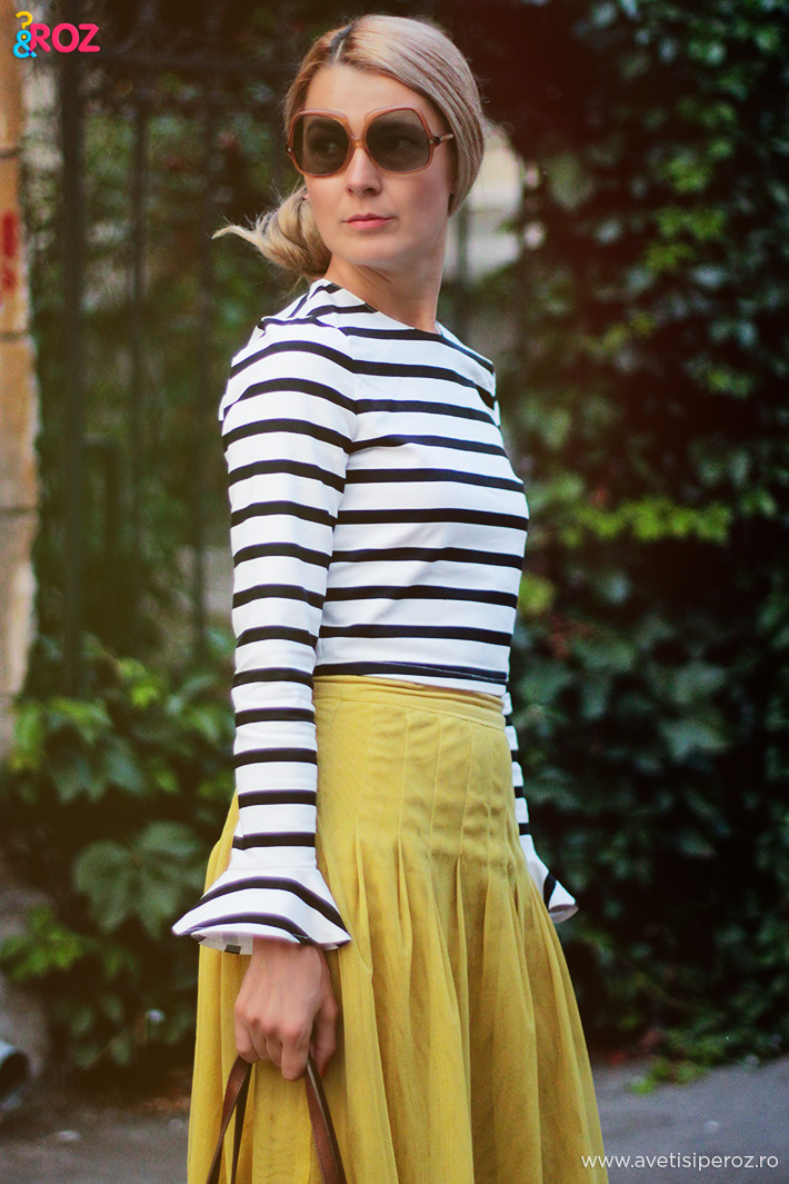 zara striped top and noa noa skirt