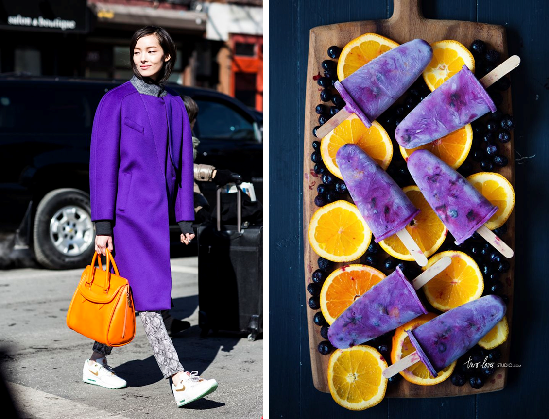 purple and orange food and fashion