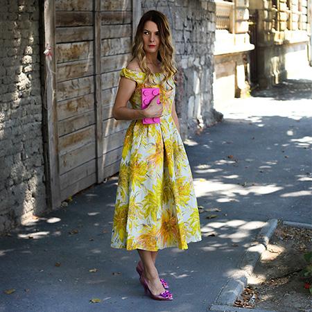 rochie galbena cu flori asos