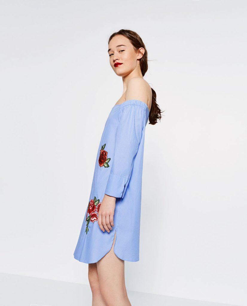 rochie albastra zara cu broderie