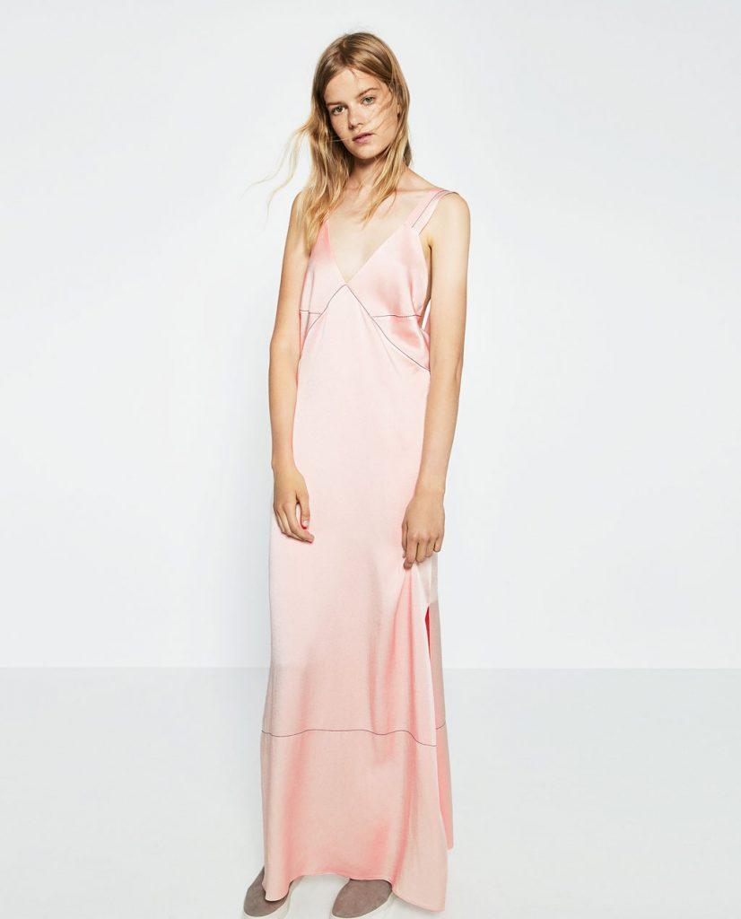 rochie lunga roz zara
