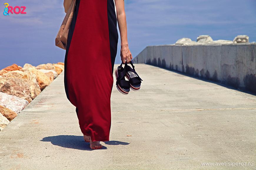 rochie zara si sandale stradivarius