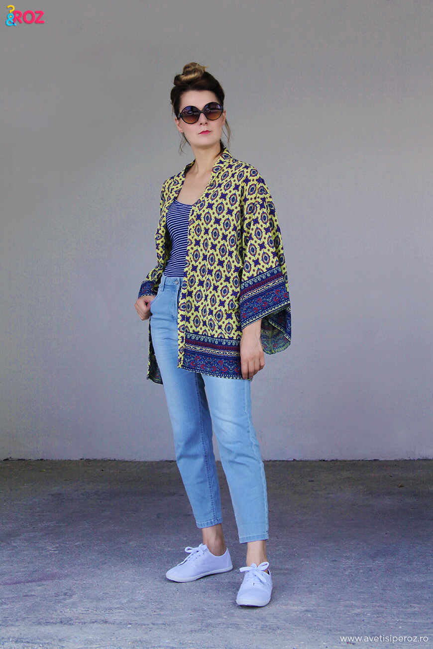 tinuta cu kimono si blugi