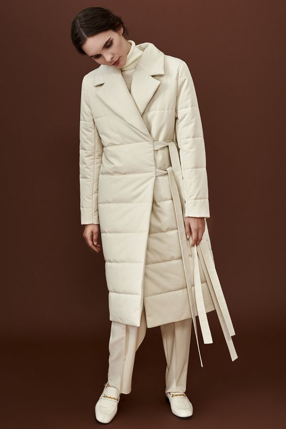 puffa white long coat