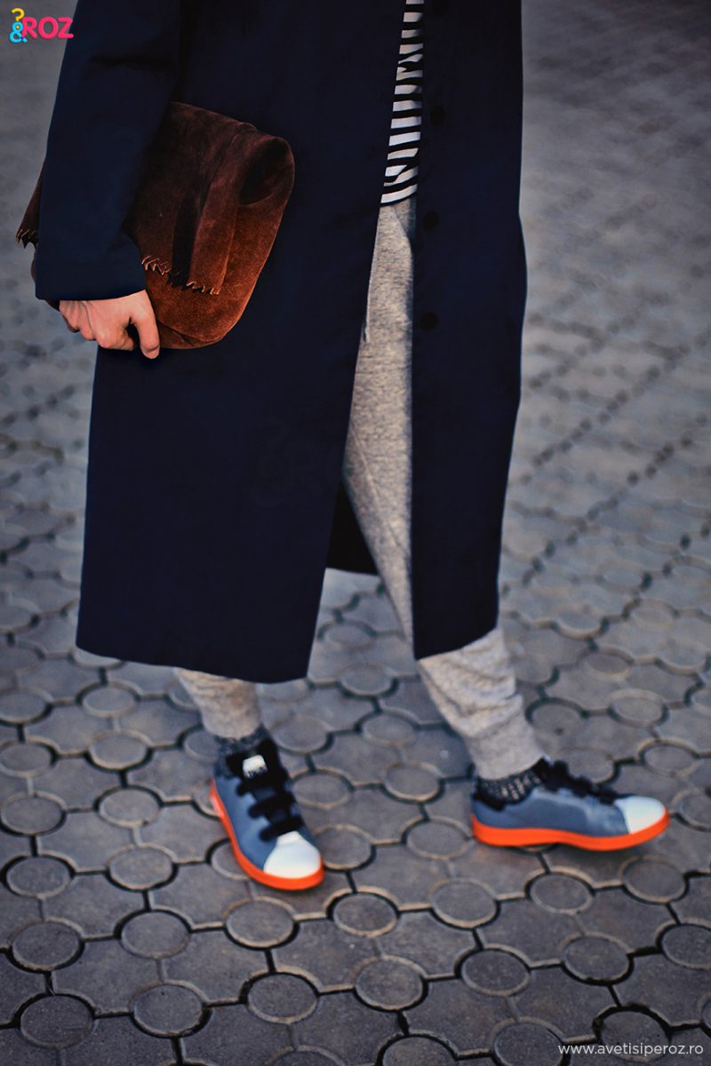 raf simons sneakers and leather clutch