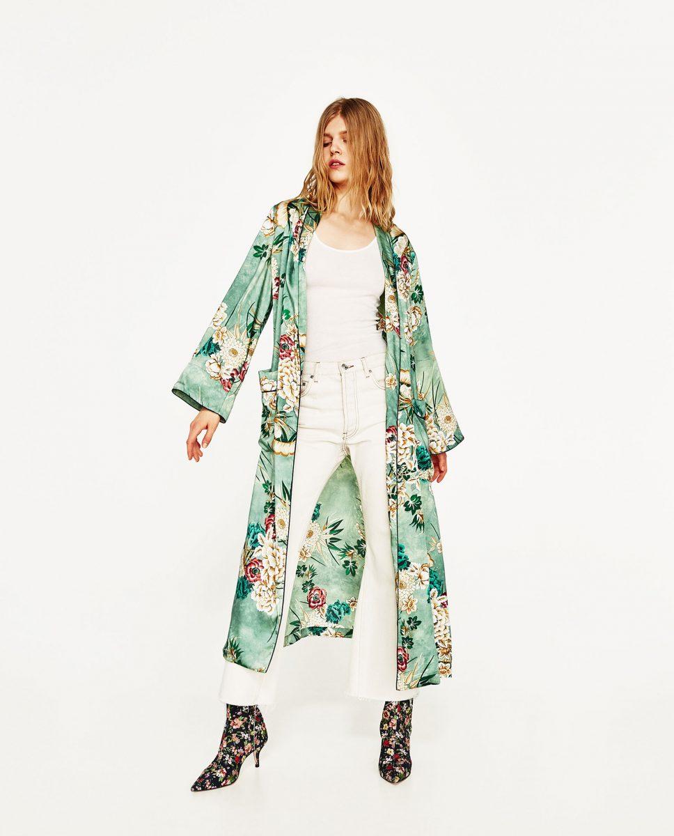 chimono verde zara
