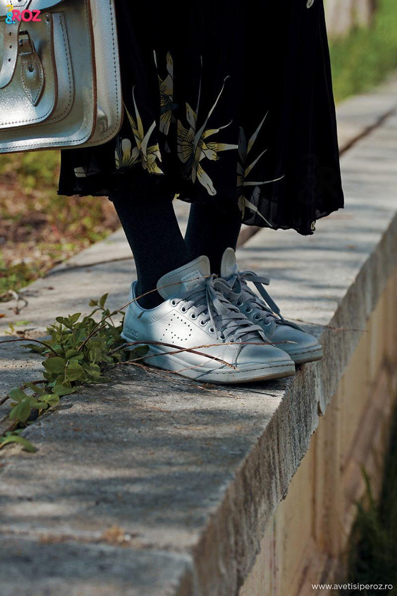 sneakers and plated skirt