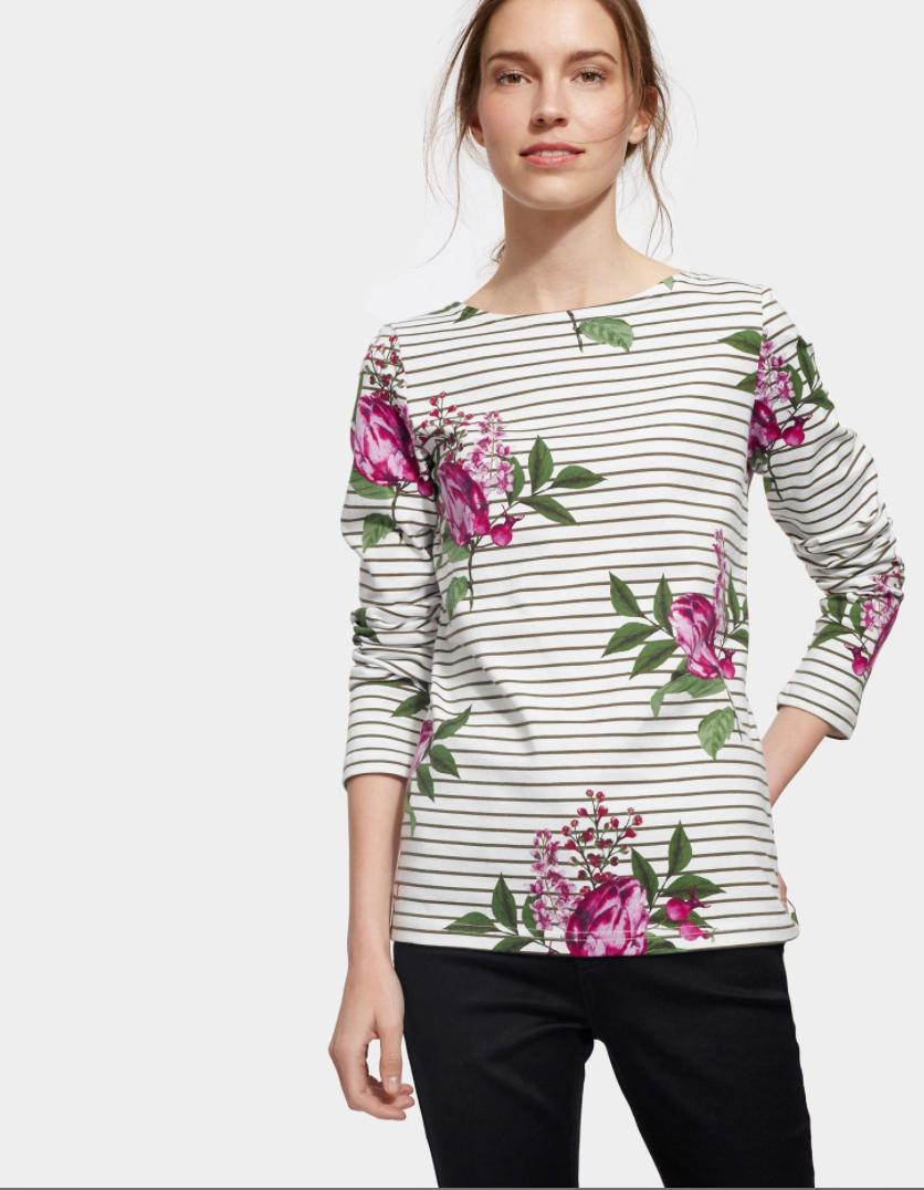 tricou cu dungi si flori