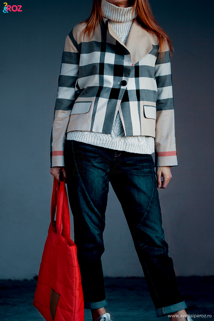 turtle neck jumper and burberry jacket