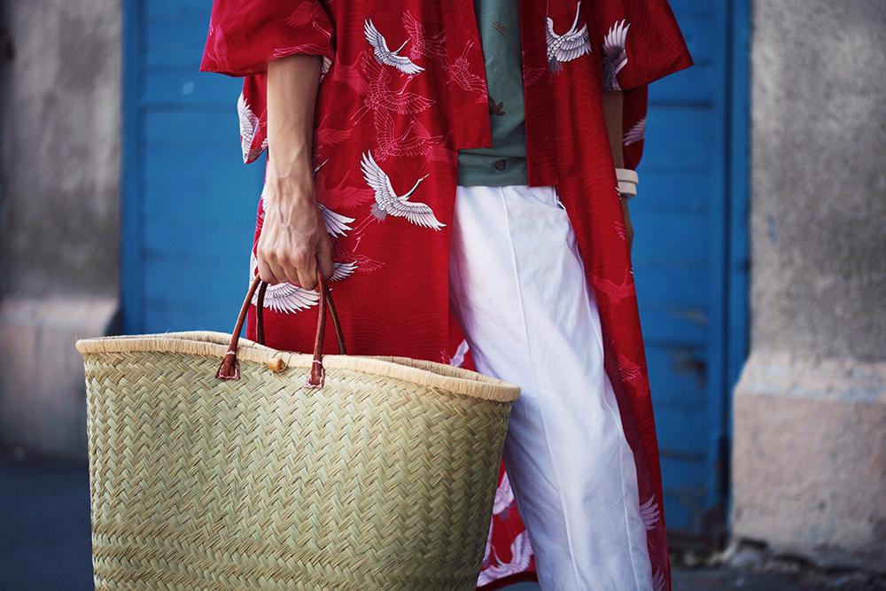 kimono si pantaloni albi