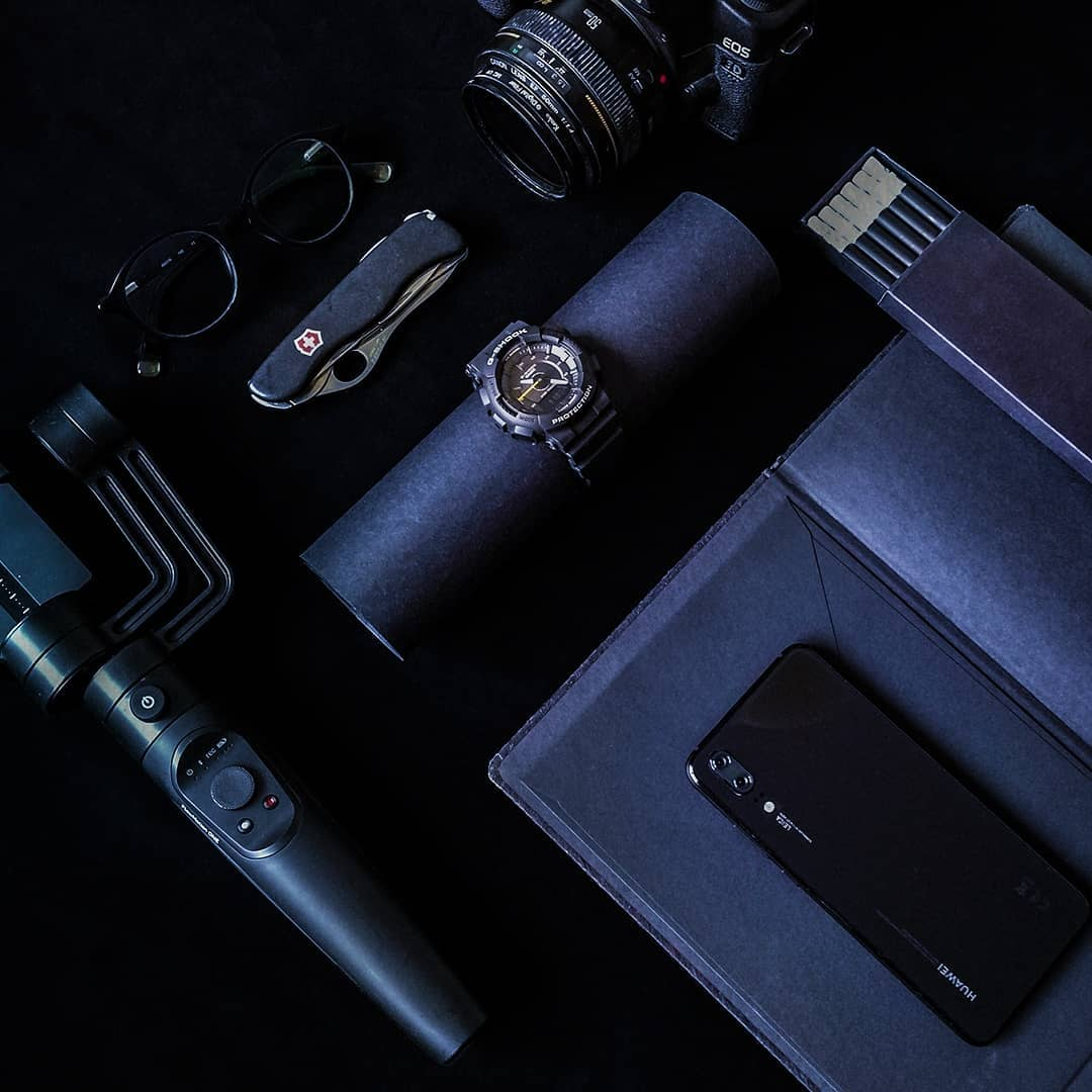 black accessories moodboard