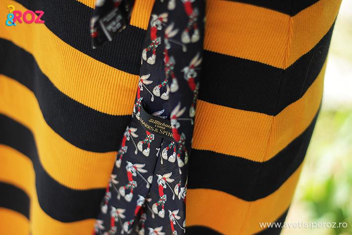 fusta cu dungi si cravata