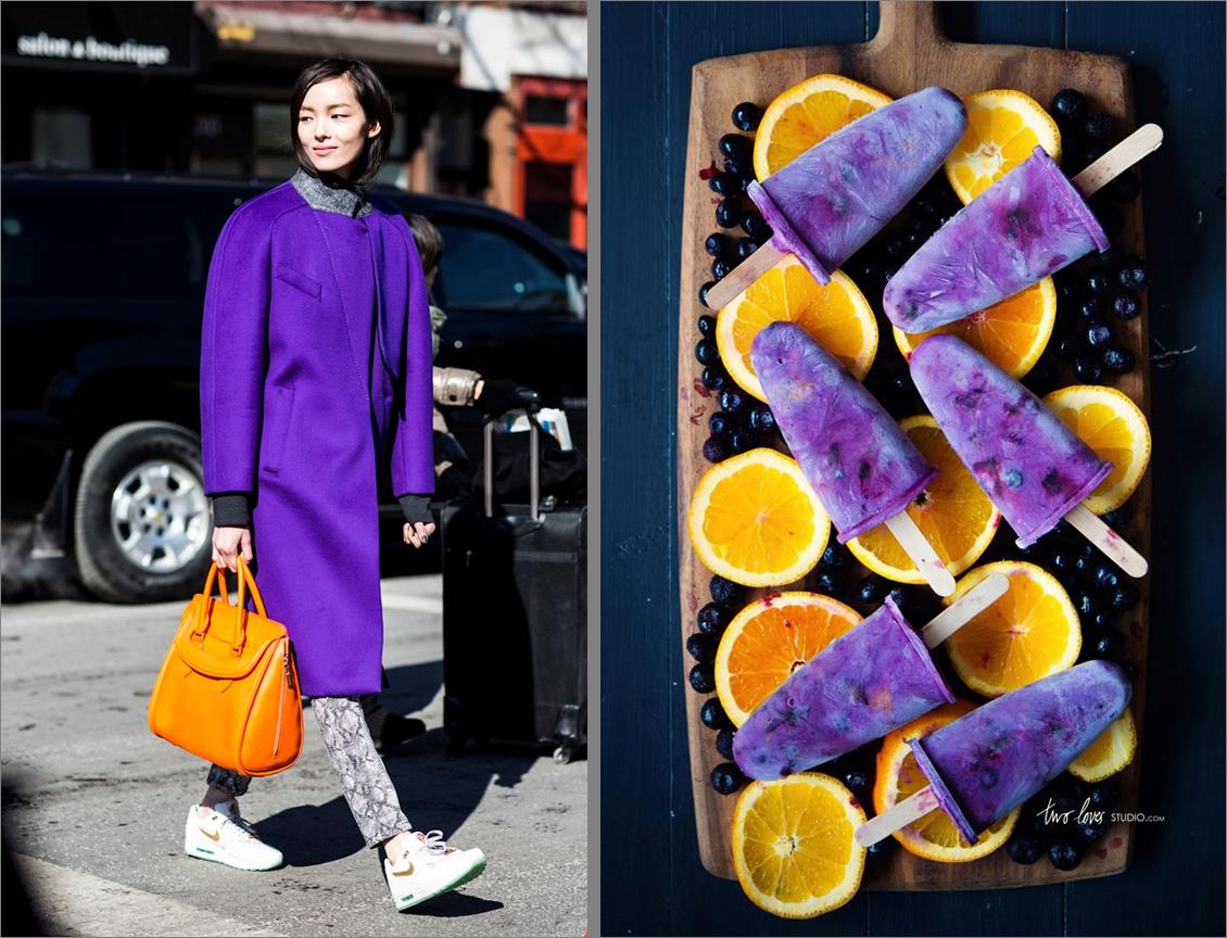 purple and orange food and fashion