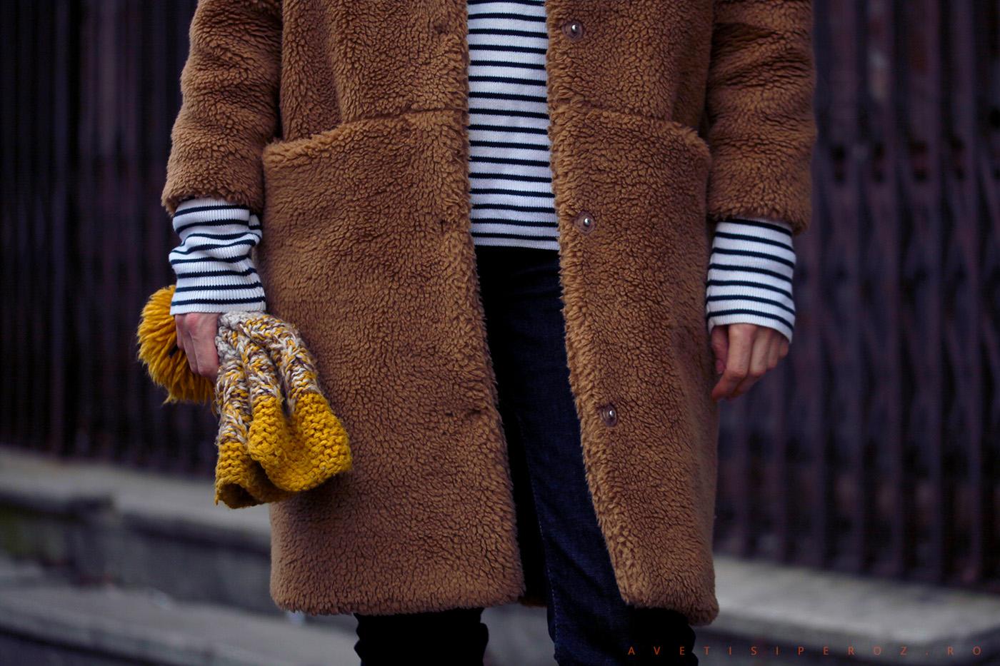 tinuta cu o haina urs