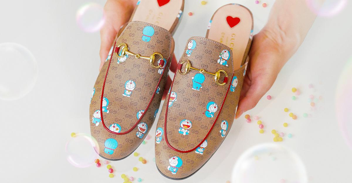 gucci x doraemon slipper